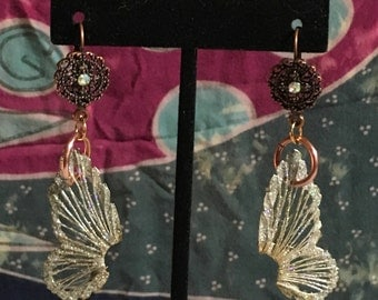 Copper medallion and wing earrings