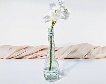 Glass bud vase/ Bud vase/ Washi tape decor/ Washi tape/ Handmade bud vase/ Handmade vase/ Flower bud vase/ Textured glass vase/ Flower vase