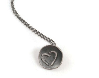 Hearts Afire *  Rustic Heart Charm, Artisan Blackened Oxidized Silver Necklace,