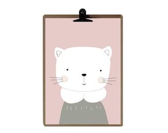 Cat nursery print - Pink color Nursery art prints - baby nursery decor - nursery wall - Children Art - Kids Room