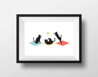 Cats at Play – Printable Art, Graphic Print, Wall Art, Digital Download, Home Decor