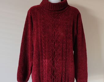 Maroon Vintage Polo Neck Ladies Knitted Jumper