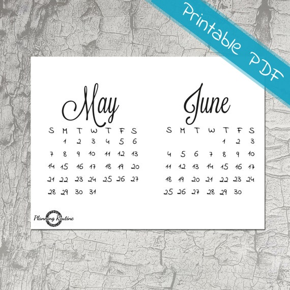 May June Calendar 2017, May 2017, Monthly Planner, June 2017 ...