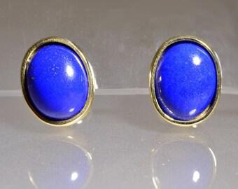 Earrings with oval lapslazzuli