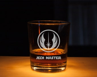 Star Wars Whiskey Glass, Rocks Glasses, Etched glass, Unique gift, Scotch glass, gift for dad, Jedi Master glass