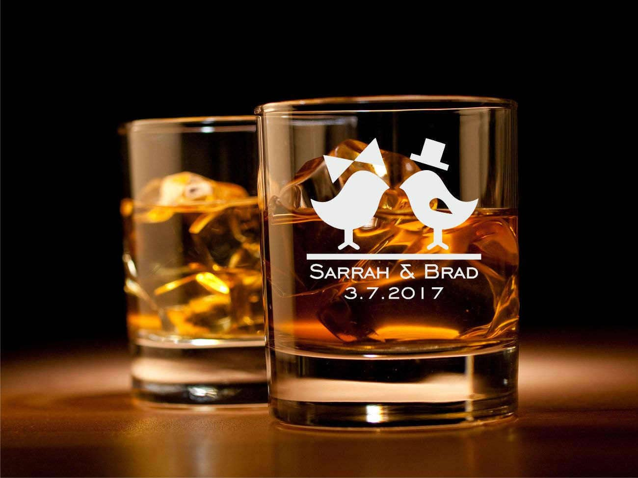 Personalized Wedding Glasses for Whiskey Rocks Glass