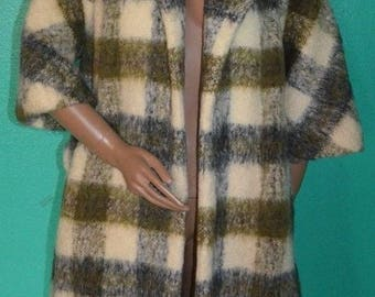 Vintage Lilli Ann Swing Coat 3/4 Sleeves Tisse a Paris Mohair Wool - L/XL