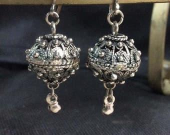 clip-on silver bead earrings
