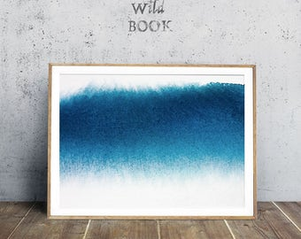 Abstract Watercolor Print, Minimalist Art, Watercolor Art Print, Stroke Art Print, Blue Decor, Navi Wall Art, Home Decor, Digital Print