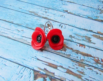 Red poppies earrings polymer clay Red earrings Jewelry handmade Wild flowers Red flowers earrings Bridal earrings