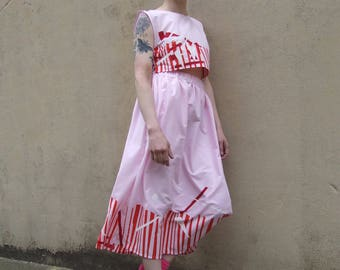 SALE Hand Printed Pink Crop Top & Maxi Skirt Coord