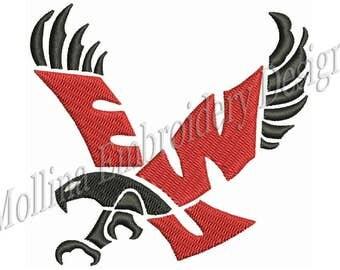 Eastern Washington Eagles Logo Machine Embroidery Design 5 Sizes