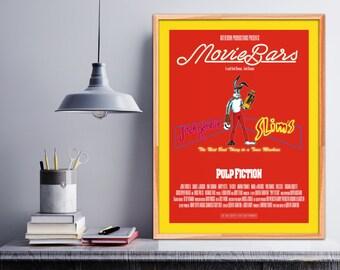 "Pulp Fiction"". Jack Rabbit Slims. John Travolta. Uma Thurman. Quentin Tarantino. Red Rabbit. Movie poster. Cinema. Bar Decor. Wall art print"
