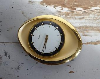 Mauthe clock Aufziehen clock mechanical golden fifties oval vintage classic