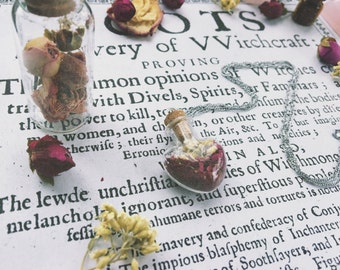 Heart glass vial Pendant w Rose petals & Yarrow Fresh Herbs / Botanical-Witchcraft-Wiccan-Wicca-Pagan-Jewelry-Necklace-metaphysical-occult