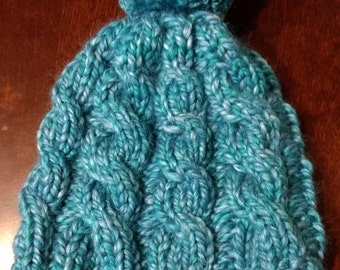 Hand-knit cabled hat