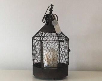 Rustic wire lantern