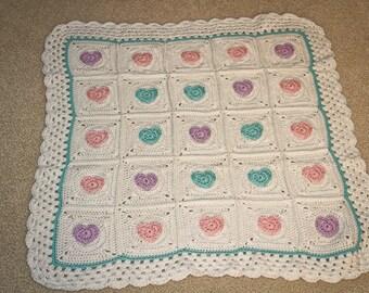 Pastel Heart Blanket