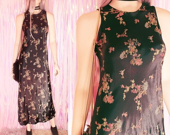 90s Asian Minimalist Maxi Satin Dress - 90s Clothing 90s witchy dress, 90s Satin Dress, 90s Asian Dress, Oriental dress, 90s goth clothing
