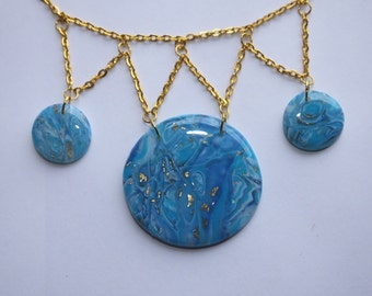 Mokume-gane polymer clay and resin necklace