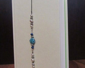 Beaded Bookmark, Bookmark, Stretchy Bookmark, Bookmark Bracelet, Flower and Pearls Beaded Stretchy Bookmark