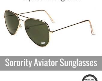 Alpha Phi Sunglasses . Sorority Aviator Sunglasses Style . White Sorority Decal
