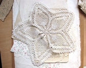 antique star doily: flower shaped white crochet lace doily - circa 1920s - vintage shabby cottage chic