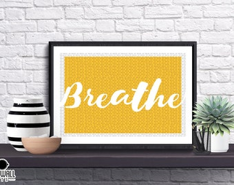 Just Breathe Print, Zen, Anxiety, Calm, Relaxing, Quote, bedroom Print, Yoga, Illustrated, Poster, Gift