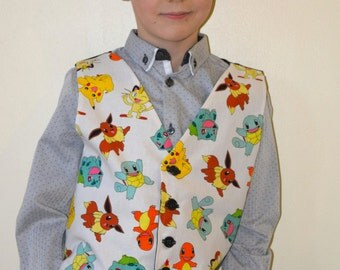 Boys waistcoat made with Pokemon fabric; matching Bowtie available.