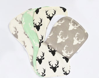 Deer Head Set of 2 or 4 Baby Burp Cloth - Contoured Burp Cloth - Baby Boy Burp Cloths - Burp Rag - Rustic Burp Cloth - Modern - Trendy