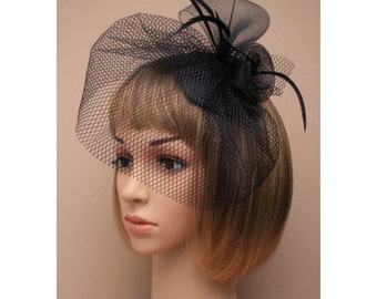 Black teardrop cap with Black veil, coiled flowers & feathers. Races Hat, Ascot, Black Veil, Black Fascinator, Church Hat, Black Hatinator