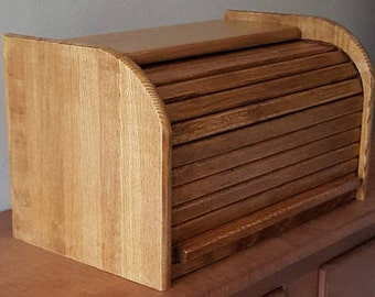 Roll Top Bread Box Wood Breadbox Solid Wood Holds One to Two Loaves of Bread