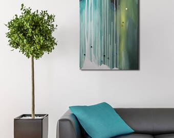Abstract painting, original abstract art, blue, green, violet, white, acrylic, painting on canvas 100 x 50 cm - 170416