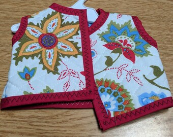 "Flowered Quilted Vest for 18"" Doll"