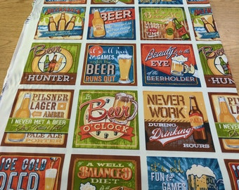 Cheers-Beer Sayings-Cotton Fabric from Robert Kaufman