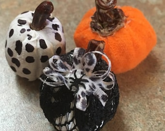 Pumpkins fabric and clay  Dollhouse miniature