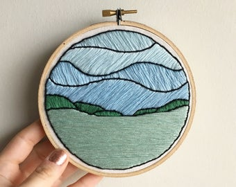Norris Lake Landscape - Contemporary Embroidery Hoop Art Wall Hanging - Green and Blue Decor - Lake in the Hills
