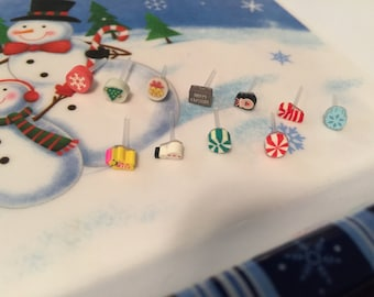 Hypoallergenic Christmas plastic post earrings *Perfect for toddler/small/sensitive ears*