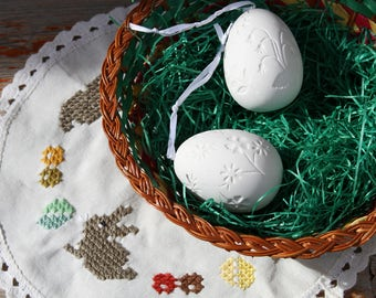 Eggstraordinary Easter Eggs German Easter Egg Ornaments Set of 2 White Porcelain Bisque Easter Tree Ornaments Easter Decor Shipping Included