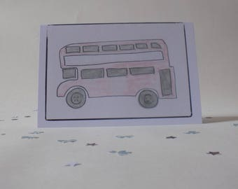 double decker bus, bus driver gift, hand made, greeting cards, handmade greeting cards, hand made cards, birthday cards handmade, cards