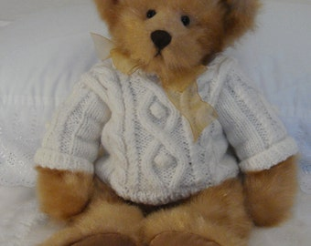 Hand Knit Aran Sweater on Gorgeous Teddy Bear unique from Ireland
