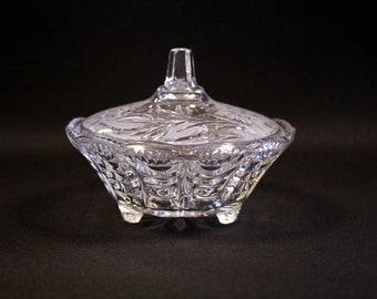 Vintage round Crystal bonbonnière with flowers on the lid-Crystal covered box on legs