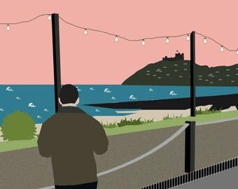 Bespoke personalised illustration; Criccieth North Wales