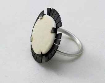 20% OFF Ostrich Egg Silver Ring, silver 925, sterling silver, handmade, oxidized, matte finish, contemporary jewelry,unique