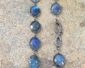 Blue Labradorite Oval Shaped Bezel Chain Necklace in Antique Finish with a Fancy Pave Diamond Lobster Clasp