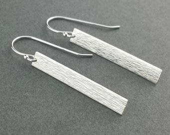 Sterling Silver Earrings, Thin Sleek Sterling Earrings, Hammered Earrings, Sterling Silver, Lightweight Earrings, High Polish