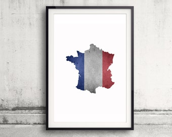 France Map Print - France Print - France Map Art - French Flag Wall Art - French Home Decor - France Poster Painting - France Flag Artwork