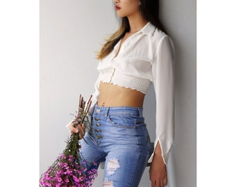 White shirt, Women's shirt, white blouse, Semi sheer, Crop top, Chiffon top By Ange Dechu