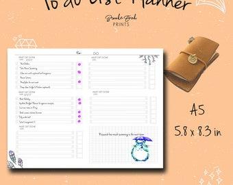 A5 To Do List, A5 Insert, A5 Notebook, A5 Fauxdori, A5 TN, A5 Midori, Chicsparrow insert, Travelers Notebook, PDF
