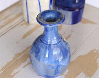 Handmade Crystalline Pottery Vase/Beautiful Sapphire Blue Vase/Crystalline Pottery/House Decor/Pottery Art Piece/Handthrown Crystalline Vase